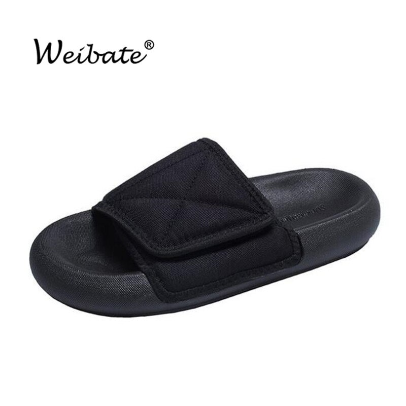 WEIBATE Women's Slippers Couple Beach Canvas Slipper Woman Couple Velcro Adjustable Slippers Wide Feet Flip Flops Casual Shoes