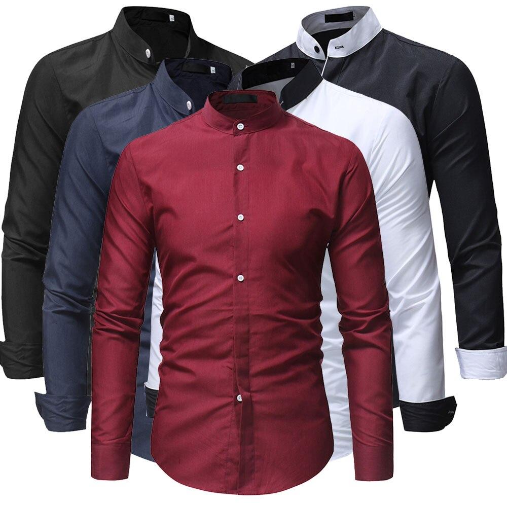 Высококачественные мужские дизайнерские рубашки, модные деловые рубашки с воротником-стойкой, официальная одежда, социальные рубашки