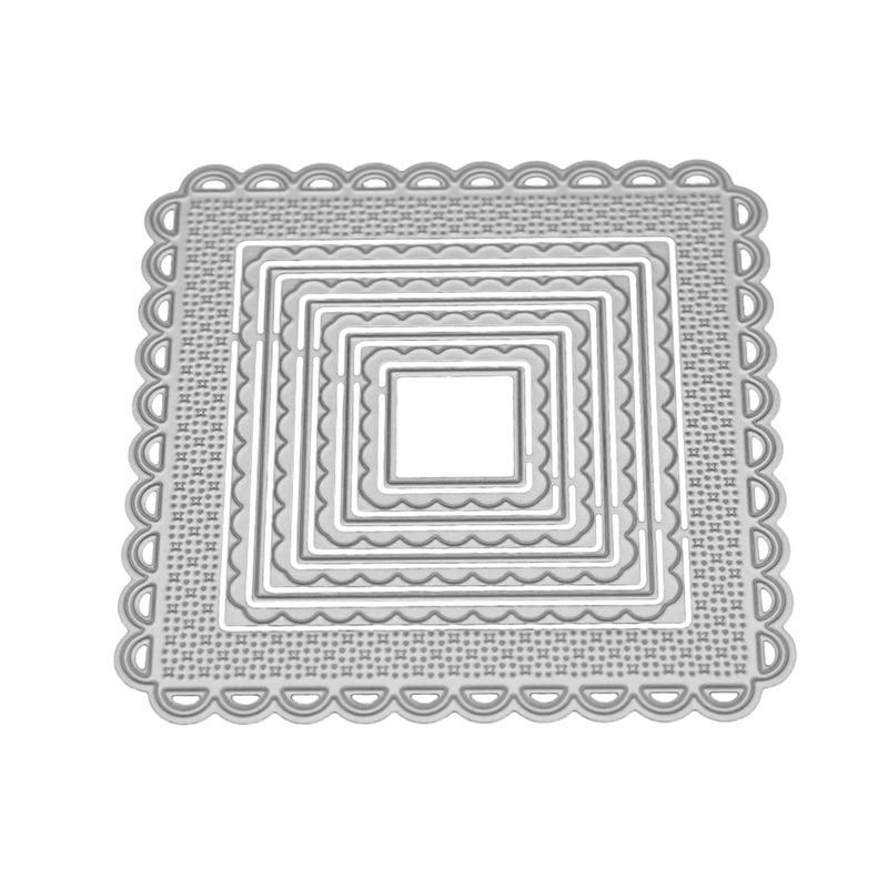 Marco cuadrado de encaje festoneado anidado troqueles de corte de Metal plantilla para álbum de recortes DIY en relieve artesanía herramienta para tarjetas