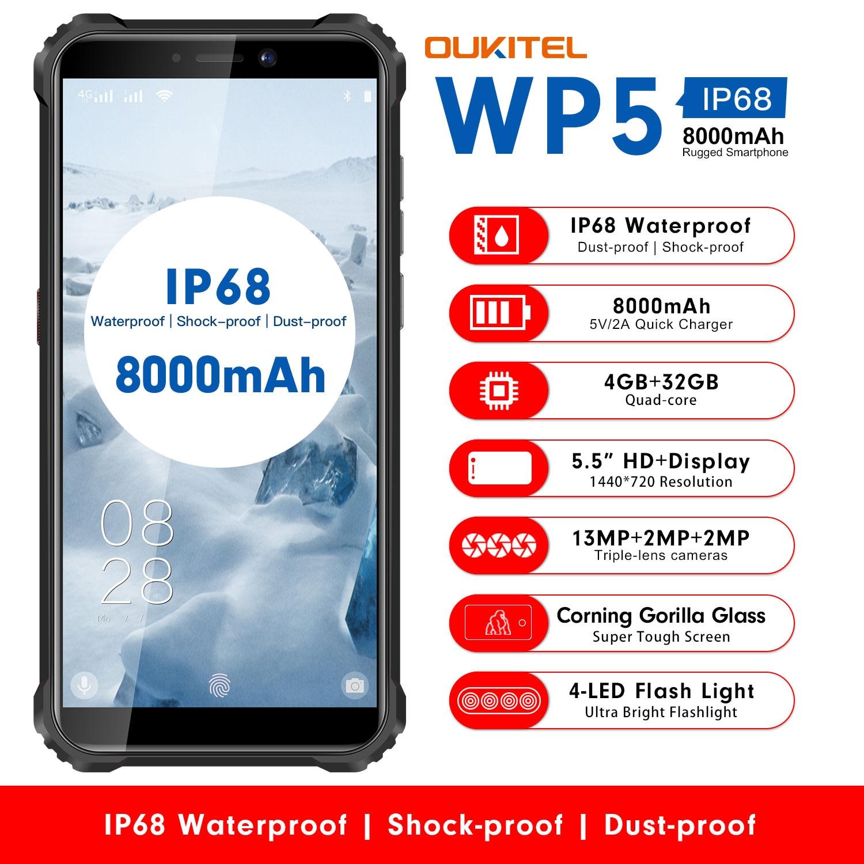 OUKITEL-هاتف ذكي ، WP5 ، شاشة 5.5 بوصة 18:9 ، مقاوم للماء IP68 ، مقاوم للغبار والصدمات ، MTK676 ، 5V/2A ، بطارية 8000mAh ، معالج Quard Core ، هاتف ذكي