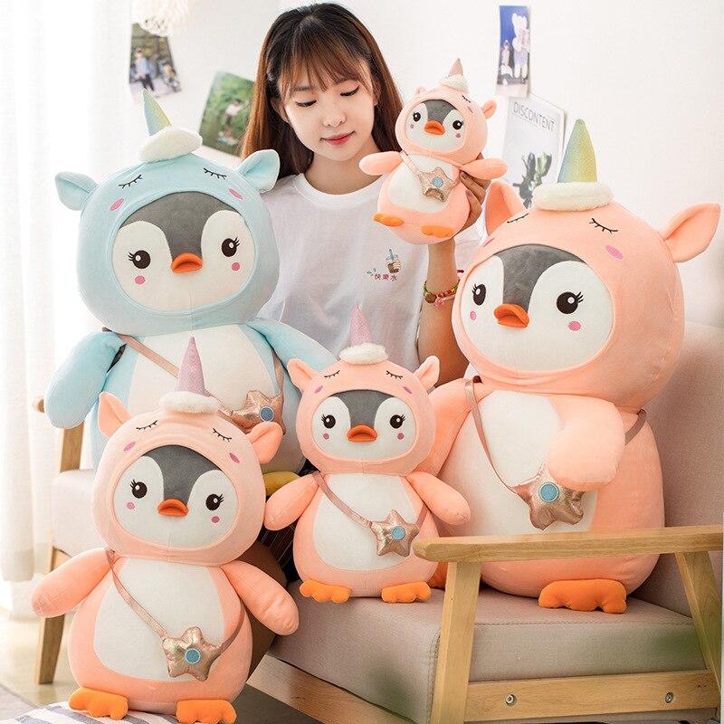 28 ~ 70cm lindo pingüino relleno muñeca de felpa Cosplay unicornio juguete bebé suave Animal pingüino almohada niños niña cumpleaños regalo de Navidad