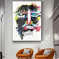 Peinture a lhuile abstraite mode dessin anime crane affiche salon couloir bar decoration murale