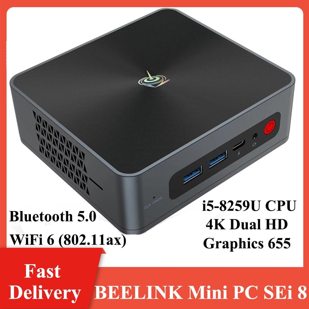 BEELINK SEi 8 Mini PC i5-8259U CPU 8+256G/16+512G Bluetooth 5.0 Wifi6 1000M LAN Type-C USB3.0 HD 4K Display Mini PC Home Office