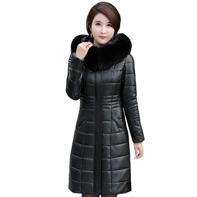 Зимняя кожаная куртка, женские парки из искусственной кожи с капюшоном и меховым воротником, толстые теплые длинные парки, женский пуховик ...