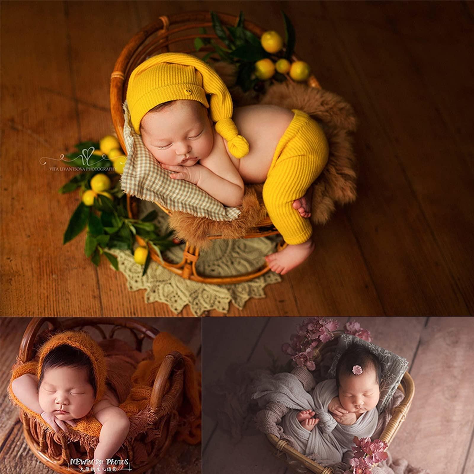 Newborn Photography Props Retro Handmade Rattan Chair Basket Cribs Newborn Photo Shoot Posing Props Photo Studio Accessories enlarge