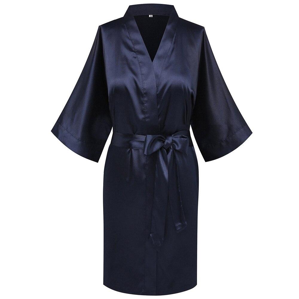 Bata de baño Kimono azul marino para mujer, bata sexi de media manga suave, ropa de dormir informal cómoda para el hogar, negligé con cinturón