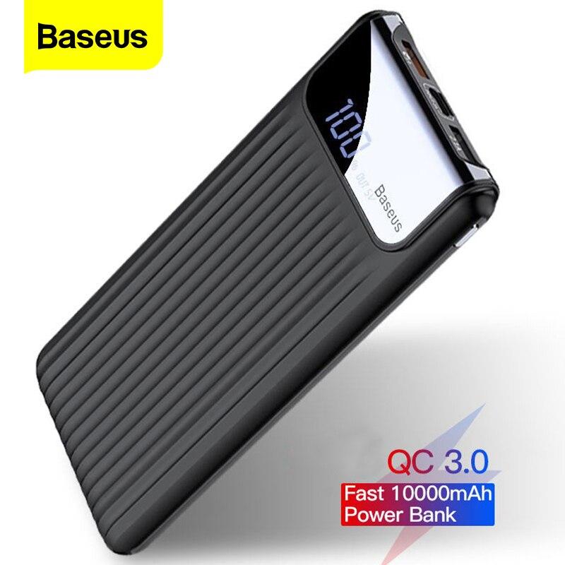 Baseus 10000mAh LCD Quick Charge Power Batterie Ladegerät QC 3,0 3,0 Dual USB Power Bank Für iPhone X 8 7 6 Samsung S9 S8 Xiaom