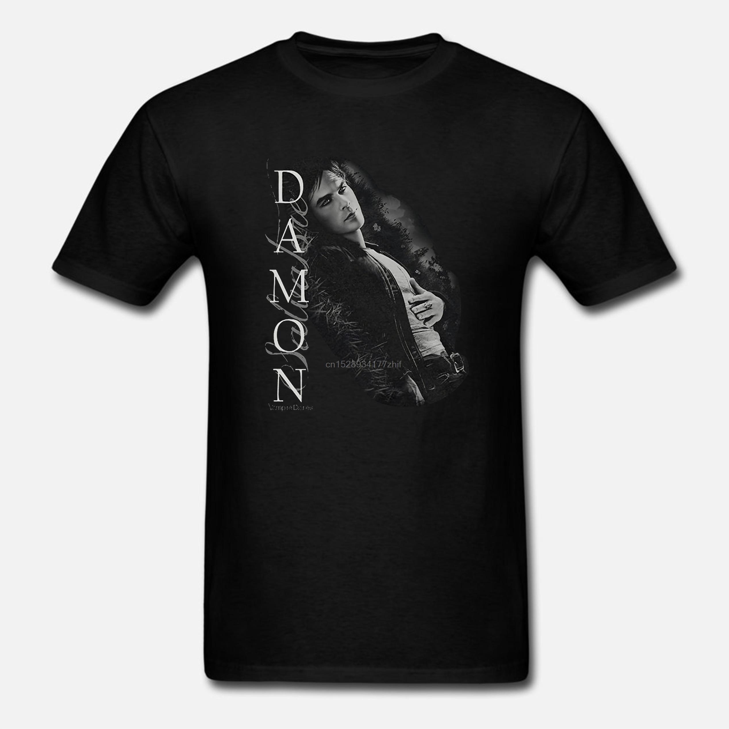 Camiseta Unisex de talla grande para hombre con diseño de vampiro, Drama sobrenatural, programa de televisión, Damon Salvatore