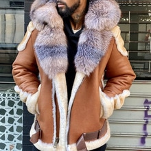Fashion Casual Mens Leather Jacket 2021 Autumn Winter New Brown Fur Collar Zipper Long Sleeve Mens L