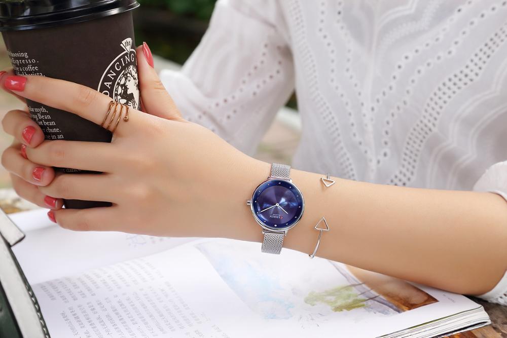 CURREN Elegant Women Watches Quartz Stainless Steel Silver Mesh Watch Female Simple Blue Ocean Dial for Ladies Clock Reloj Mujer enlarge
