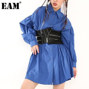 [EAM] Women Pleated Blue Nailed Big Size  Dress New Lapel Long Puff Sleeve Loose Fit Fashion Spring Autumn 2021 1DB66005