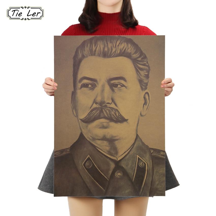 Affiche en papier Kraft cravate LER Stalin urss   Affiche de décor de cuisine café Bars, affiches parure Vintage, affiche murale rétro 50x35cm