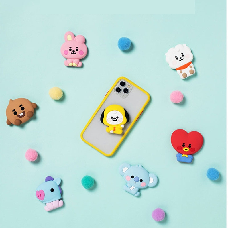 Kpop Bangtan Boys Cartoon Koala Foldable Mobile Phone Holder Stand Finger Ring Airbag Bracket Phone