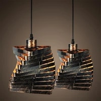 1pc creative retro industrial spiral hanging lamp home bar living room pendant light without bulb
