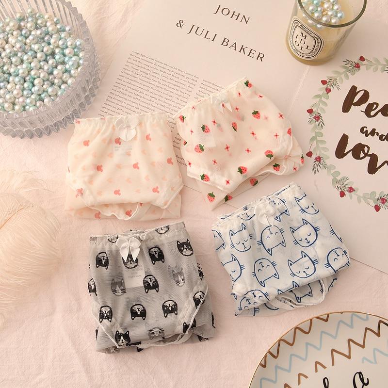 4 Uds japonés Lolita Bowknot Linda ropa interior de encaje chicas Kawaii dulce transpirable fresa imprimir bragas mujeres bragas sin costura