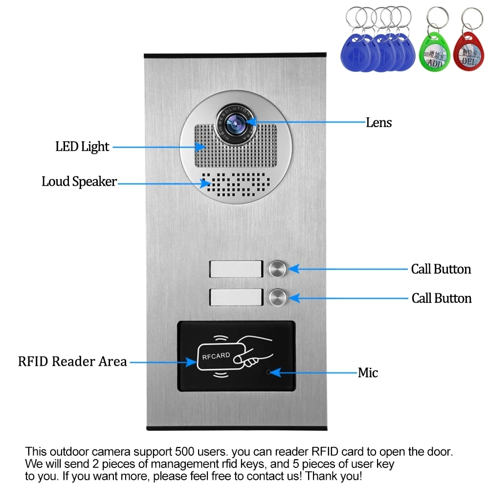 Home 4.3'' TFT Wired Video Intercom Doorbell System RFID Camera with 2/3/4 Monitor Doorphone for Multi Apartment EM Key Unlock enlarge
