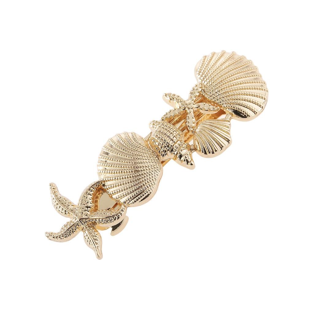 Moda exagerada Madam Metal horquilla Marina primavera accesorios de cabello para chica estrella de mar Concha doble joyería al por mayor