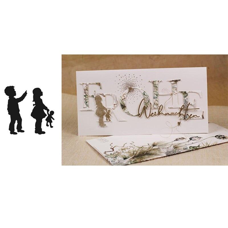 Par de niños círculo troqueles de corte de metal troquelado molde Scrapbook papel para hacer tarjetas artesanía cuchillo molde troqueles nuevos 2019 diecuts