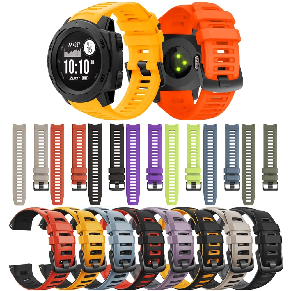 Silicone Wristband For Garmin Instinct Smart Watchband Straps Replacement Bracelet Tactical/Solar/Esports/Tide Sport Accessories