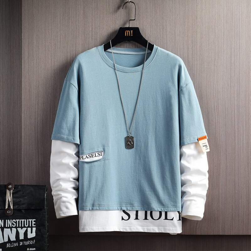 db5369 dave bella autumn infant babyboys toddler hooded top boys printed t shirt children high quality tees Long Sleeves Mens Patchwork Tshirts 2021 New Spring Autumn Clothes Man'S Classic T-shirt Top Tees High Quality