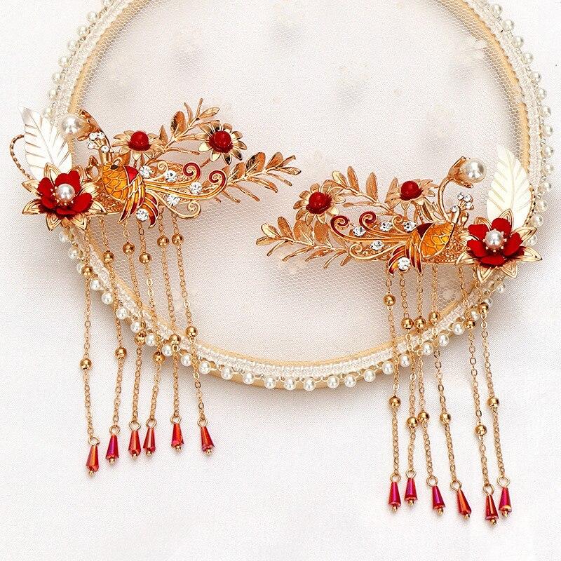 Chino Retro Fénix corona perla larga borla horquillas mujeres boda cabello Clips nupciales horquillas accesorios para el cabello