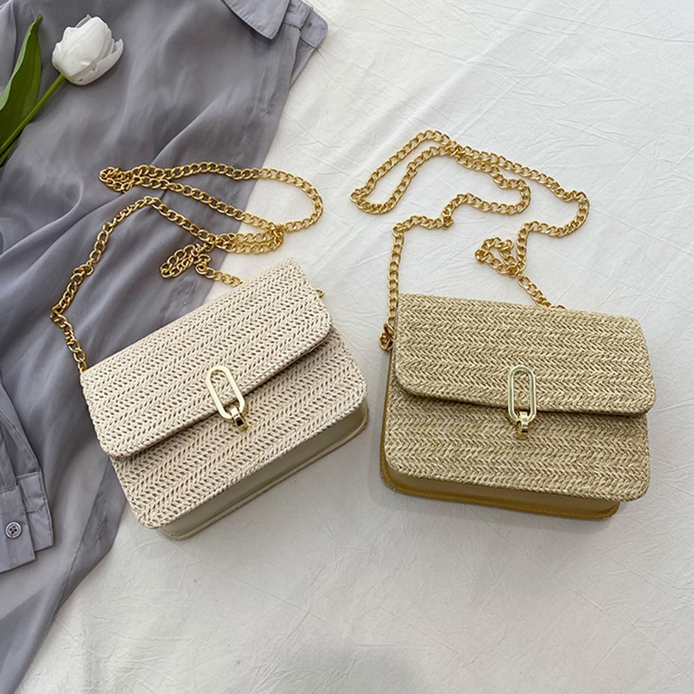 Women Fashion Straw Woven Shoulder Messenger Bags Casual Summer Beach Vacation Chain Small Flap Crossbody Handbags For Ladies
