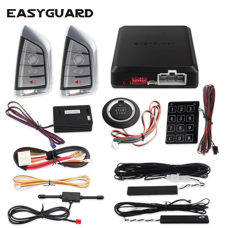Easyguard компания Smart key keyless go car аварийная система удаленного запуска двигателя Кнопка запуска touch ввода пароля DC12V вибрац