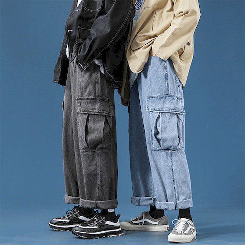 Pantalones vaqueros de pierna ancha para hombre... pantalón holgado recto con bolsillos...