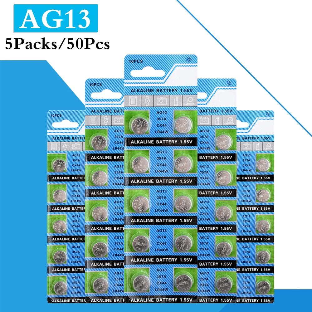 50 uds/paquete de 5 AG13 1,5 V LR44 L1154 RW82 RW42 SR1154...