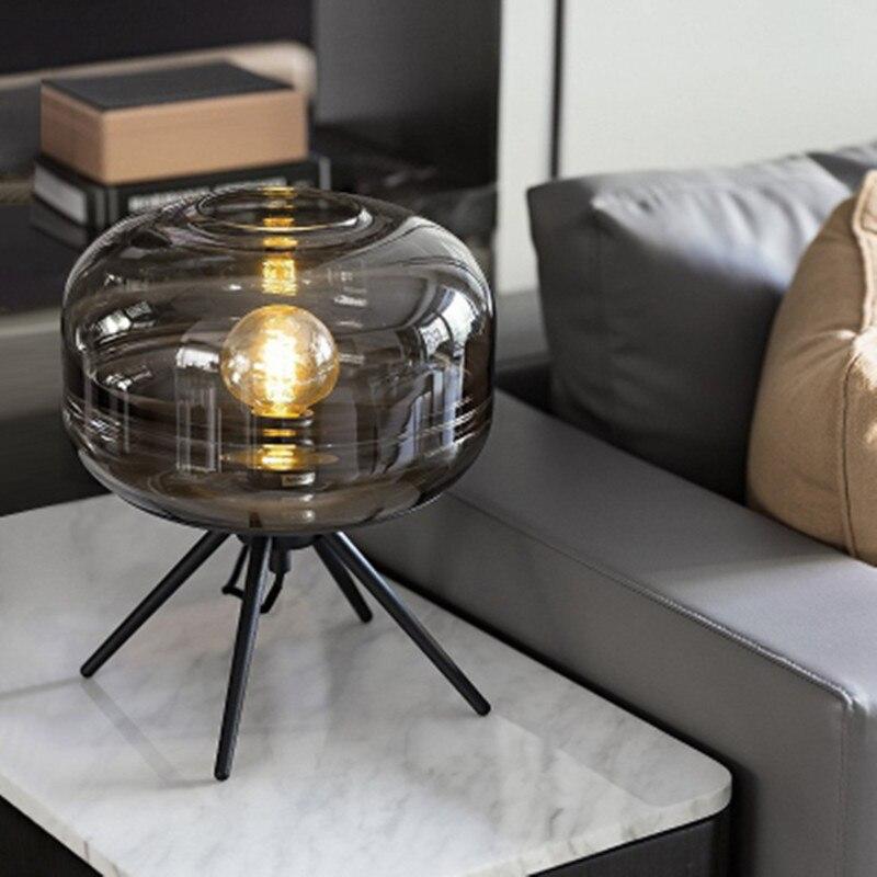 nordic designer candeeiro de mesa vidro abajur base tripe cabeceira lampada loft