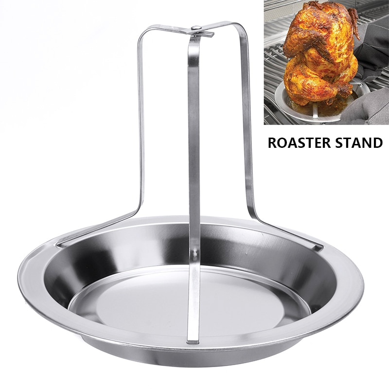 1Pcs Chicken Roaster Rack Stainless Steel Beer Can Chicken BBQ Grill Stand Holder Tray Roasting For Barbecue Tool BBQ Accessory