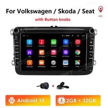 Автомобильный мультимедийный плеер, Магнитола на Android 10, с GPS, для Volkswagen Golf, Polo, Tiguan, Passat b7, Seat Leon, Skoda Octavia, Yeti, типоразмер 2DIN