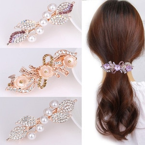 Pearl rhinestone bow large hairpin headdress Women's all-match spring ponytail flower hair accessories
