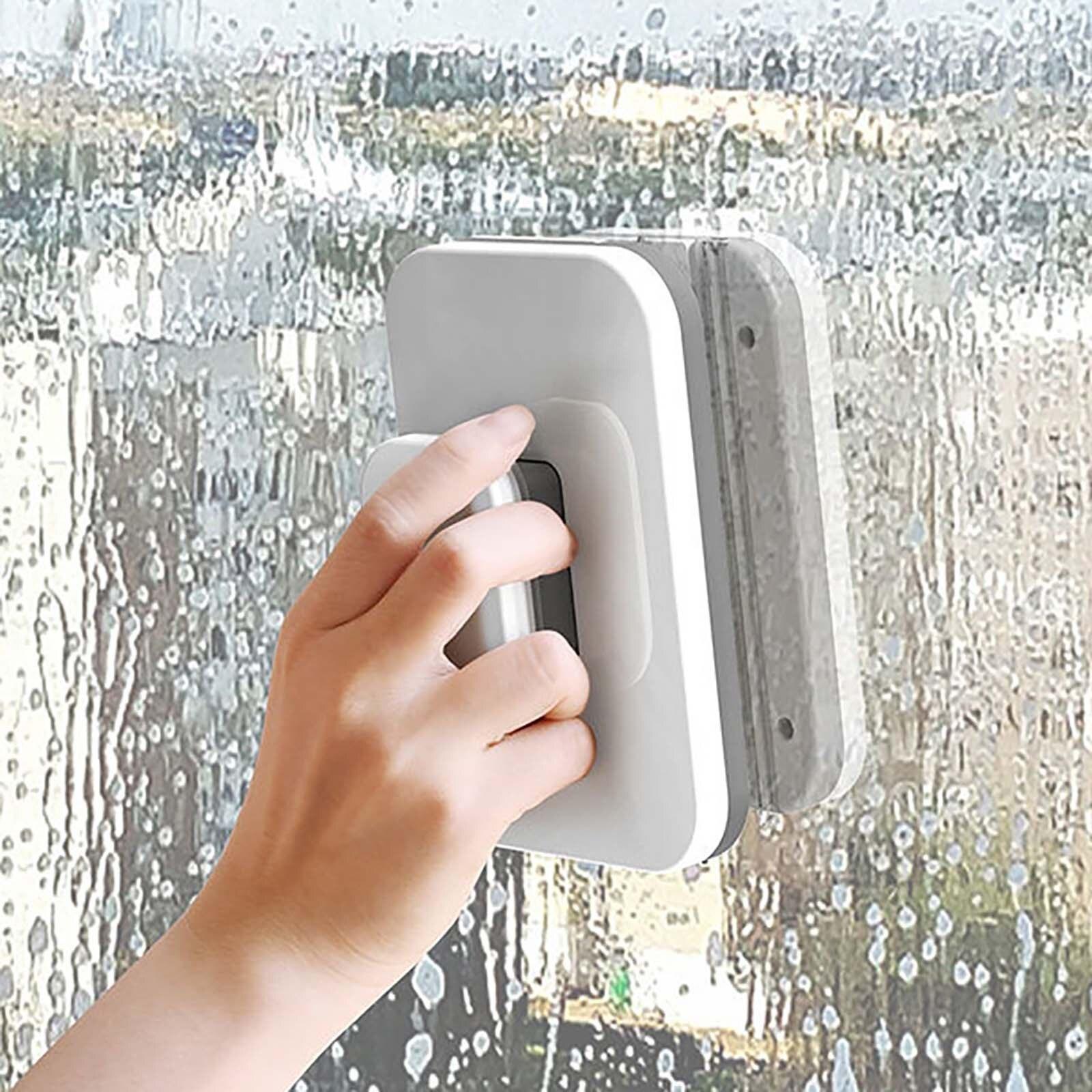Limpiador de vidrio con ventana magnética, cepillo de limpieza lateral doble, cepillo para lavar ventanas, accesorios de herramientas de limpieza del hogar