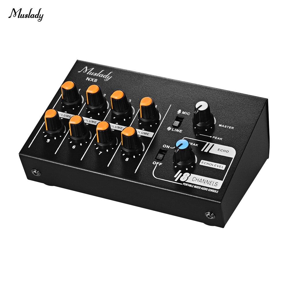 Muslady NX8 Ultra-compacto 8 canales estéreo Audio sonido mezclador bajo ruido con función ECO