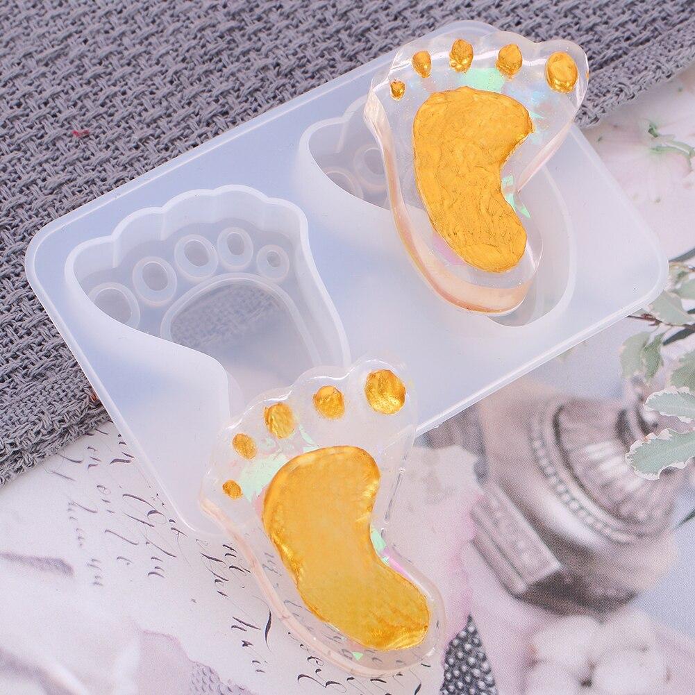 Molde de silicona para huellas de pies, Fondant de Chocolate para bebés, herramientas para hornear, herramientas para decorar pasteles, molde para jabón DIY