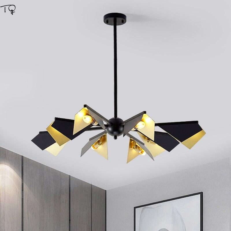 Nordic Luxury Gold Black Lustre Led Chandelier Lighting Modern Creative Geometry Living Room Dining Room Hall Studio Restaurant