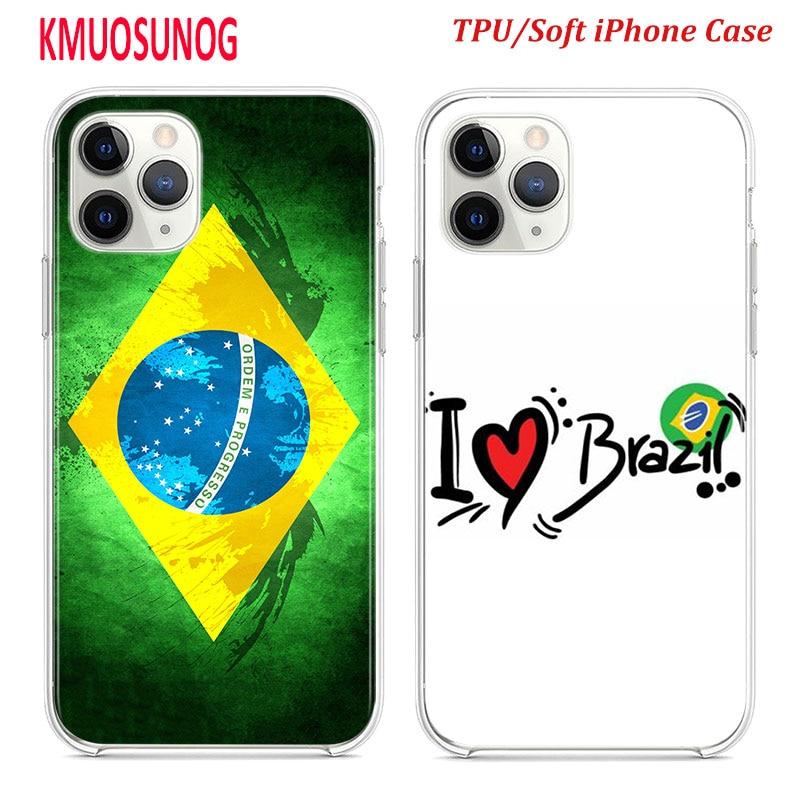 Funda de silicona TPU para iPhone 11 11Pro XS MAX XR X bandera brasileña para iPhone 8 7 6S 6 Plus 5S