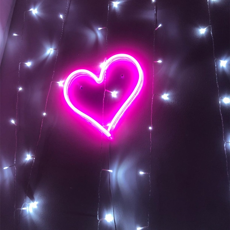 Letrero de neón con forma de corazón, luz de neón colgante para pared para boda, dormitorio, casa, vacaciones, decoración, Bar, luz alimentada por USB, Día de San Valentín