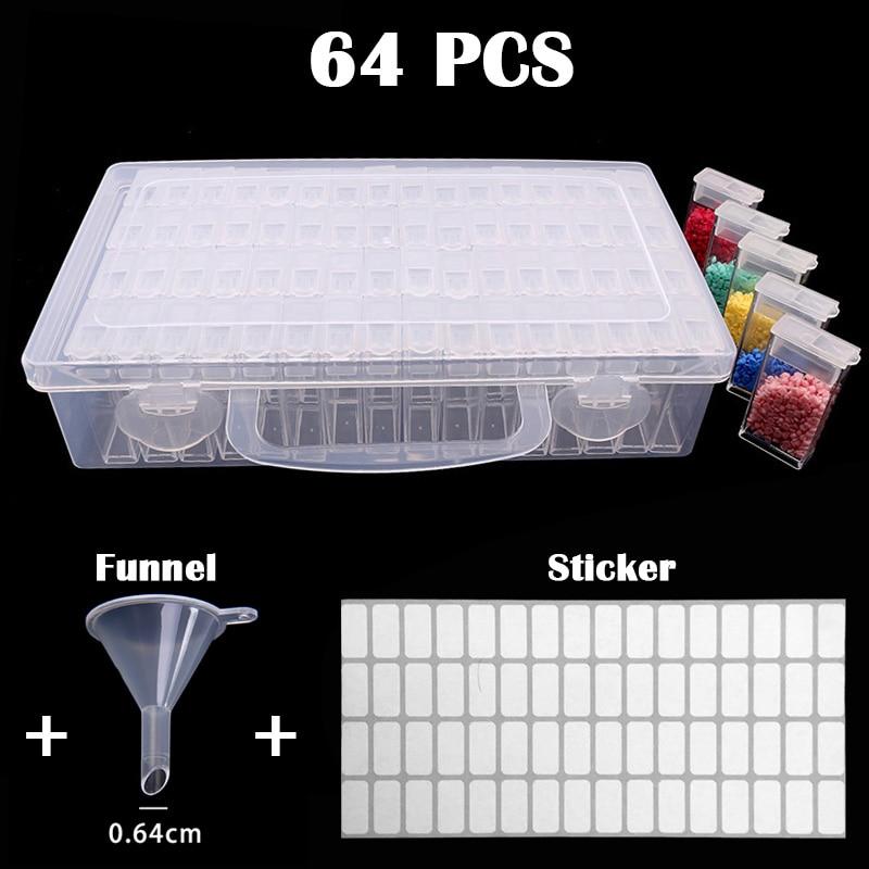 Пластиковый бокс для хранения 64/128 ячеек, медицинский бокс для алмазной живописи, бокс для хранения вышивки, аксессуары для ювелирных издели...