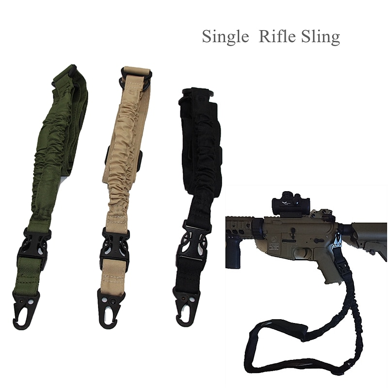 New Tactical One 1 Single Point Sling Adjustable Airsoft Rifle Gun Sling Bungee Shoulder Belt Strap Shotgun Hunting Accessories magorui heavy duty tactical one single point sling adjustable bungee rifle gun sling strap