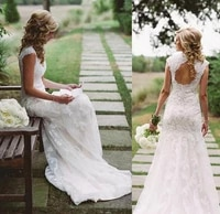 vintage sweetheart long mermaid lace wedding dresses with sleeves sweep train corset back brautkleider bridal gown for women