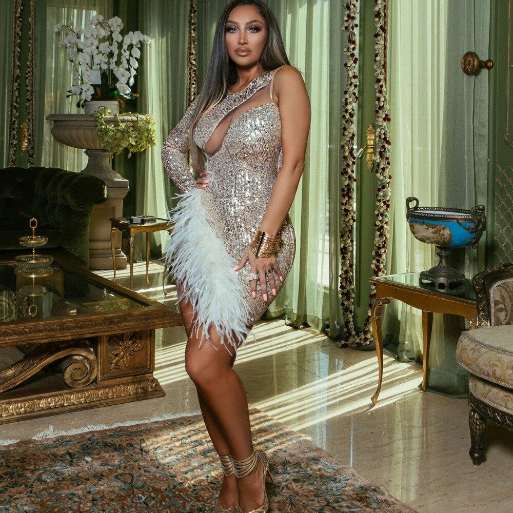 Женская одежда с бесплатной доставкой, облегающее Сетчатое платье с блестками и кристаллами, соблазнительные женские вечерние платья для в...