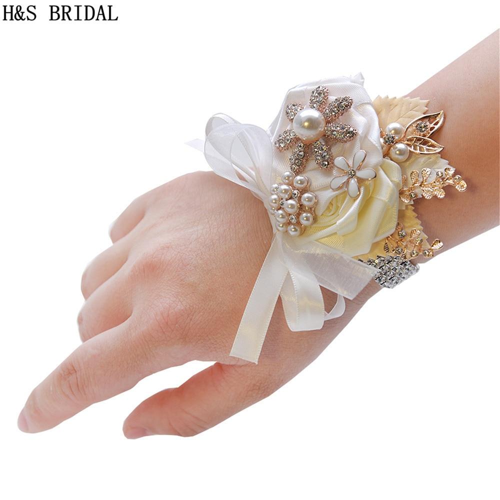 Ramillete de muñeca blanco marfil para dama de honor hermanas flores de mano flores de muñeca artificiales para boda baile fiesta decoración nupcial graduación