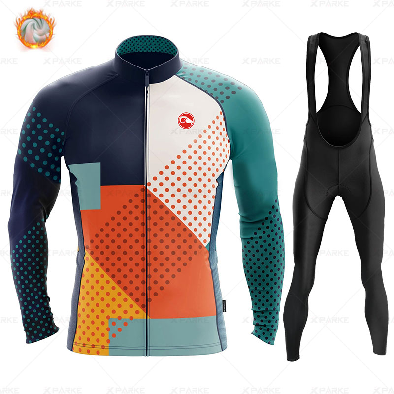 Jersey cálido de invierno 2020 de lana para ciclismo para hombre, conjunto de Ropa para montar, pantalones con babero, Ropa de lana polar para ciclismo Raphaful