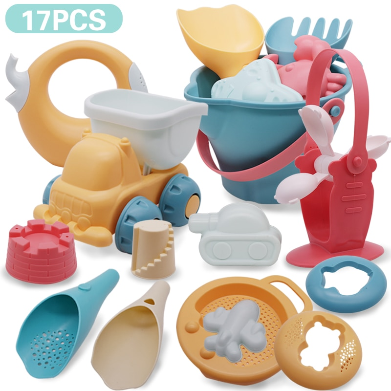 Baby Beach Game Toy Children Sandbox Toys Silicone Soft Sand Beach Set Kit Toys for Beach Play Sand Water Play Cart