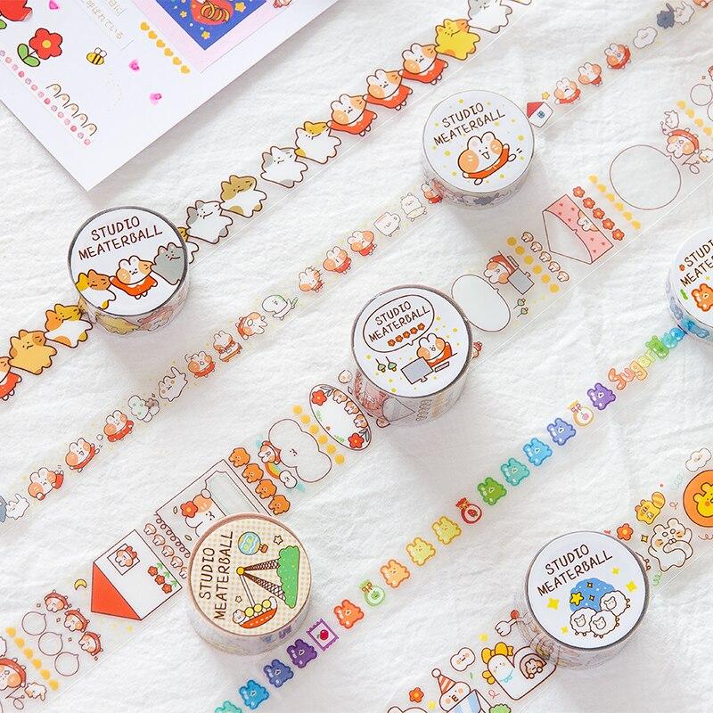 Cute Cat Family Series Journal Washi Tape DIY Scrapbooking Sticker Label Kawaii PET Masking Tape School Office Supply