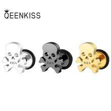 QEENKISS EG845 Fine Jewelry Wholesale Fashion Man Wedding Birthday Gift Punk Skull Titanium Stainles