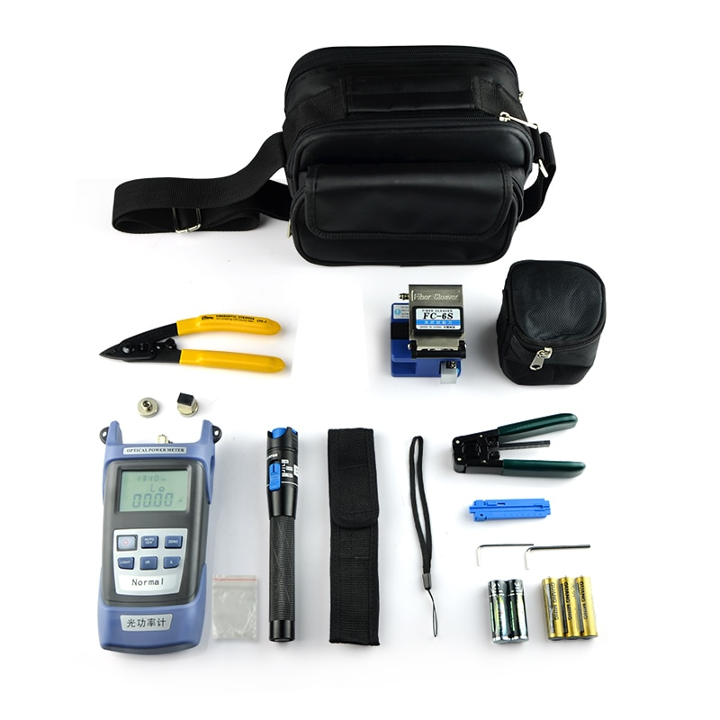 10PCS Fiber Optic FTTH Tool Kit with FC-6S Fiber Cleaver and Optical Power Meter 1MW Visual Fault Locator Wire stripper CFS-2
