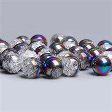Bleu rouge blanc entretoise ronde en vrac poli Transparent neige fissuré cristal quartz perle de verre pour la fabrication de bijoux accessoires de bricolage